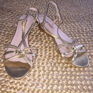 Colin Stuart Gold Low Wedge Strappy Sandals